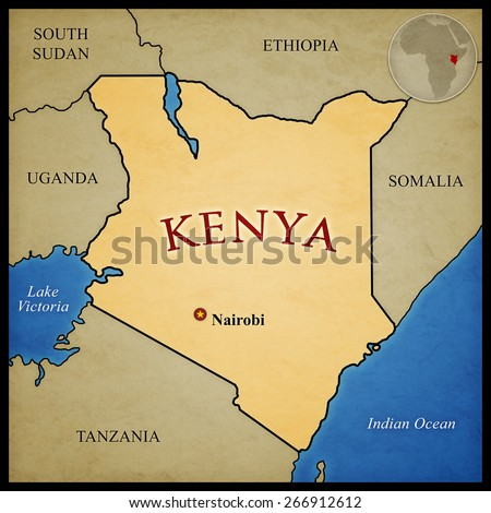 Kenya map and bordering countries with capital Nairobi marked. With location in Africa. - stock photo