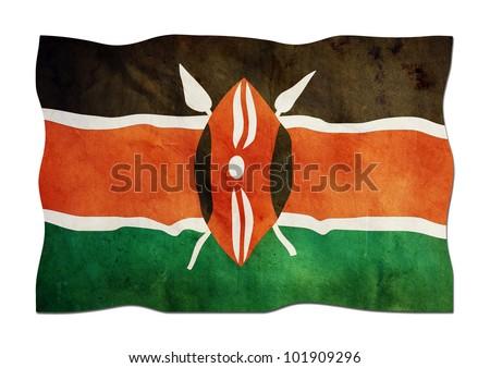 Kenyan Flag  made of Paper - stock photo