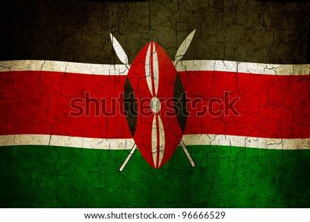 Kenyan flag on a cracked grunge background - stock photo