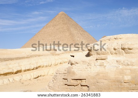 Keops Pyramid behind the sphinx