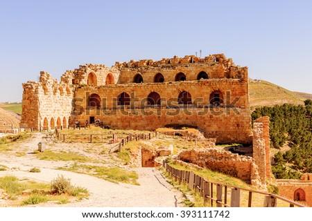Kerak Castle, a large crusader castle in Kerak (Al Karak) in Jordan. - stock photo