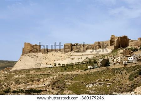Kerak Castle, a large crusader castle in Kerak, Jordan. - stock photo
