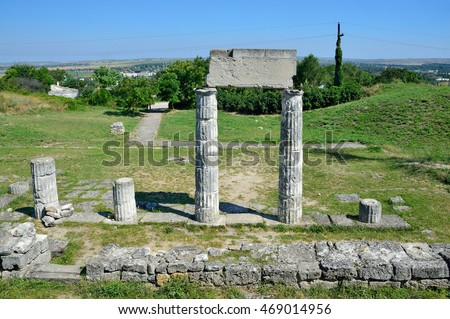 Kerch, Crimea, July, 12, 2016. Nobody, Ruins of ancient Panticapaeum on the mount Mithridat. Kerch, Republic Of Crimea