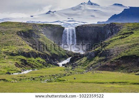 kerlingarfoss waterfall near olafsvik snaefellsnes iceland landscape in summer