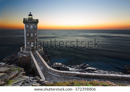 Kermorvan Lighthouse after sunset, Brittany, France - stock photo