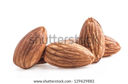 Kernel almond nuts isolated on white background - stock photo