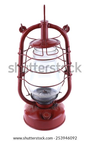 Kerosene lamp isolated on white - stock photo