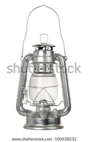 Kerosene lamp isolated on white background - stock photo