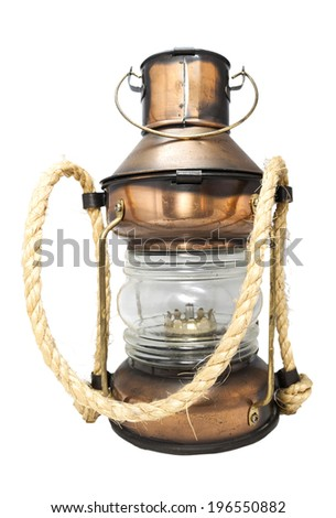 Kerosene lamp isolated on white background. - stock photo