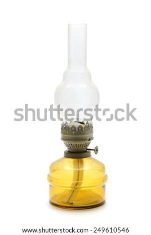 kerosene lamp isolated on white background - stock photo