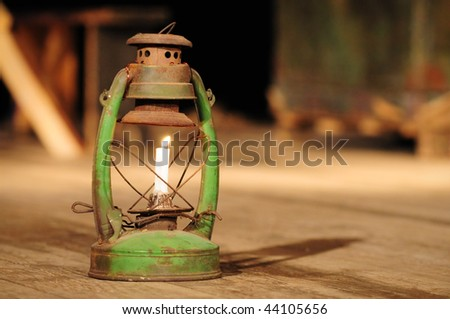 kerosene lamp on the stage - stock photo