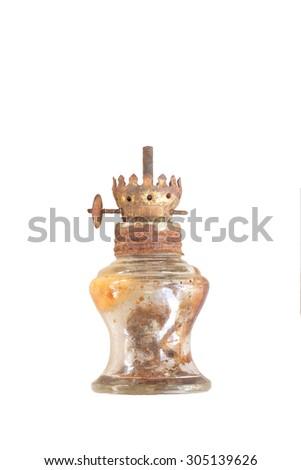 Kerosene lamp on white background - stock photo