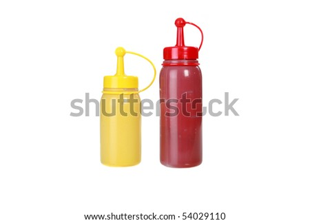 ketchup and mustard bottles isolated on white with room for your text or images