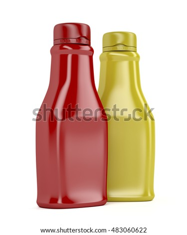 Ketchup and mustard bottles on white background, 3D illustration