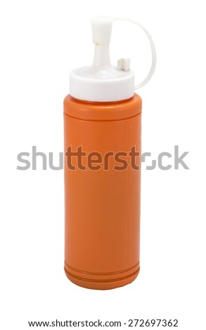 Ketchup bottle of Tomato  and Chili on white background - stock photo