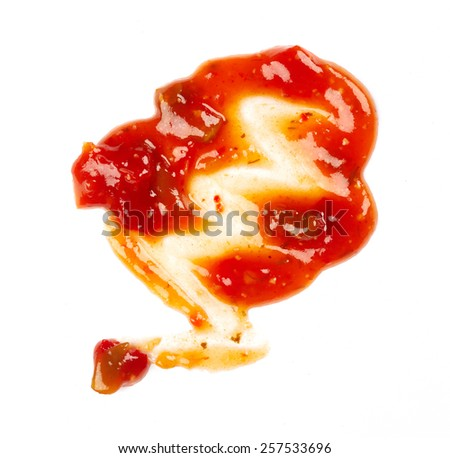Ketchup isolated on white background - stock photo