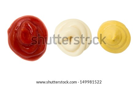 Ketchup Mustard and Mayonnaise stain blob - stock photo