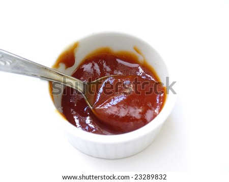 Ketchup serving on white background - stock photo