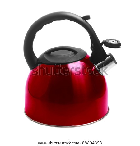 kettle apliance kitchen pot stainless red isolated on white background with clipping path - stock photo