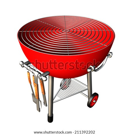 kettle barbecue grill. isolated on white background. 3d