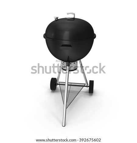 Kettle barbecue grill with cover isolated on white.