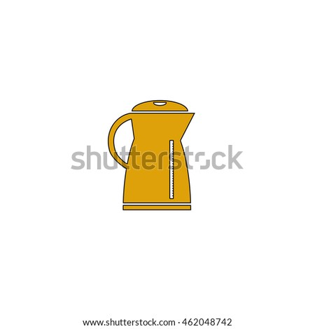 Kettle Flat yellow thin line pictogram on white background. Illustration icon