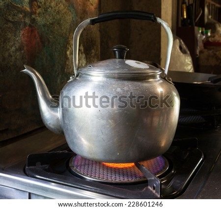 Kettle focus on front - stock photo
