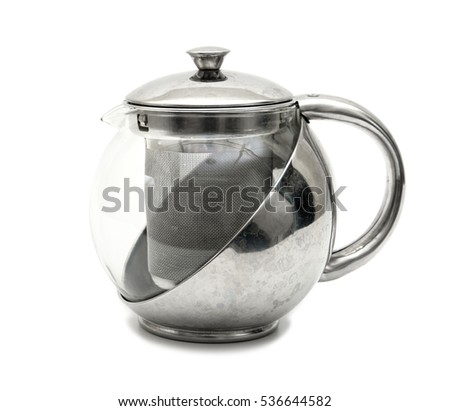 kettle tea on white background.Stainless tea pot isolated