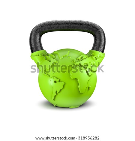 Kettlebell Earth / 3D render of heavy kettlebell weight with map of Earth - stock photo