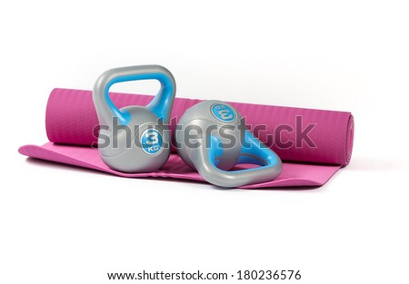 kettlebell on mattress - stock photo
