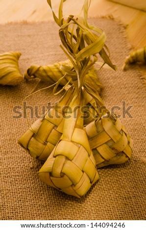 Ketupat: South East Asian rice cakes bundle, often prepared for hari raya - stock photo