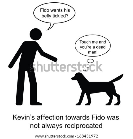 Kevin showed his affection towards Fido cartoon isolated on white background  - stock photo