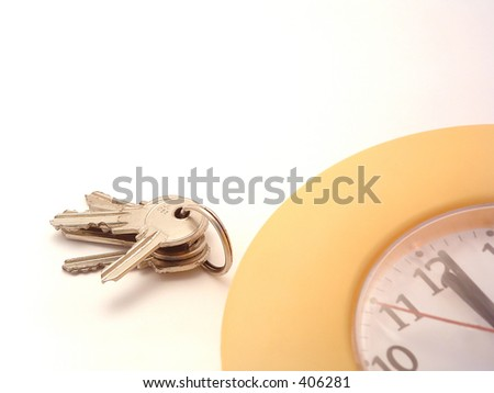 key and clock - stock photo