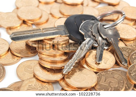 Key and coin - stock photo