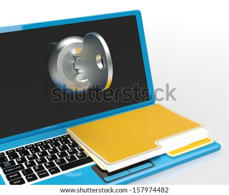Key And File On Computer Showing Protect Password Or Unlocking - stock photo