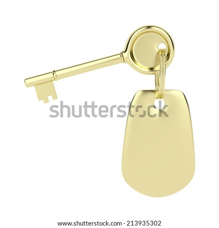 Key and key ring in golden color, isolated on white - stock photo