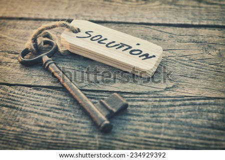 Key and label. Solution concept - stock photo