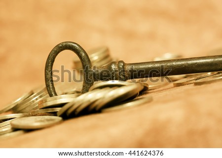 Key and money coins - self realization concept - stock photo
