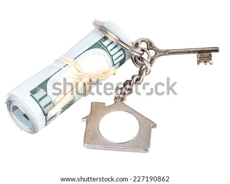 key and money for house - stock photo