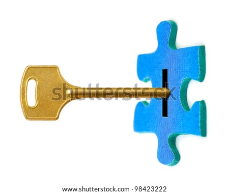 Key and puzzle isolated on white background - stock photo