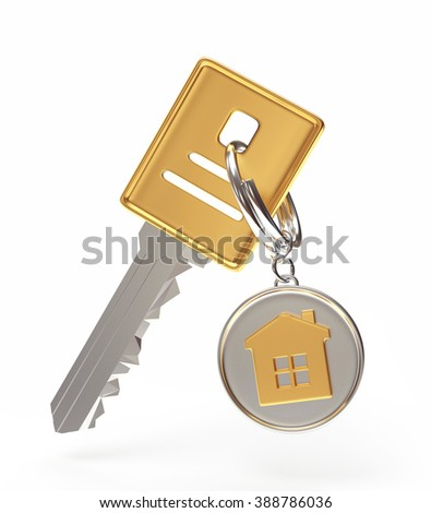 Key and round key chain with house isolated on a white background - stock photo