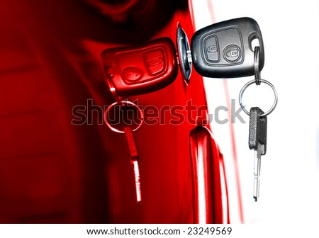 Key at car doors - close up - stock photo