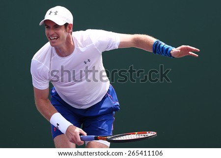 KEY BISCAYNE, FL-MAR 26: Andy Murray of Great Britain practices during day four at the Miami Open at Crandon Park Tennis Center on March 26, 2015 in Key Biscayne, Florida. - stock photo