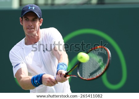 KEY BISCAYNE, FL-MAR 27: Andy Murray of Great Britain returns a shot during day five of the Miami Open at Crandon Park Tennis Center on March 27, 2015 in Key Biscayne, Florida - stock photo