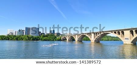 Key Bridge and Rosslyn - Washington DC - stock photo