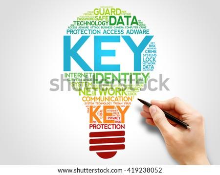 Key bulb word cloud, business concept - stock photo