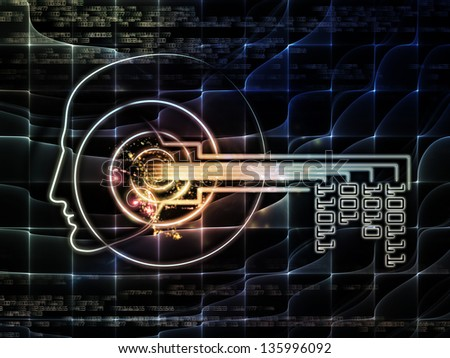Key Concept series. Arrangement of human head, key symbol and fractal design elements on the subject of encryption, security, digital communications, science and technology - stock photo