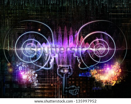 Key Concept series. Composition of human head, key symbol and fractal design elements on the subject of encryption, security, digital communications, science and technology - stock photo