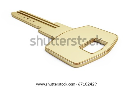 key gold isolated on a white background - stock photo