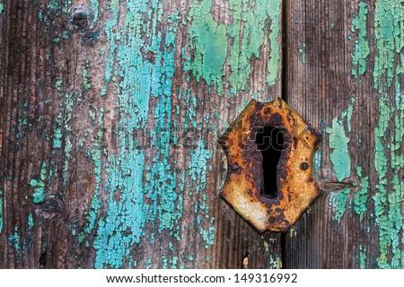 key hole  in ancient door - stock photo